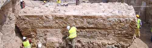 Trabajos de conservación arqueológica sobre una estructura medieval