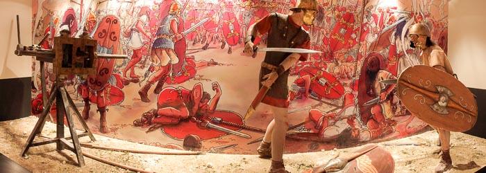Recreación de batalla con soldados iberos y romanos